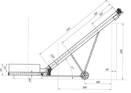 Эскиз конструкции разгрузчика вагонов удлиненный